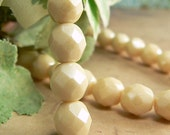 Champagne Luster Czech Glass Fire Polished Round Beads Opaque Ivory Cream  8mm (25)