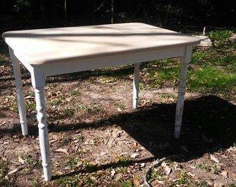Vintage Table with turned distressed white legs and raw wood top 30x 21.5x 20