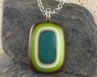 Glass Pendant Design in Brown, Lime, Ivory and Teal. Modern Bullseye Design. Colorful Pendant. Fused Glass Pendant. Modern Jewelry.