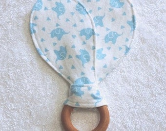 Baby Blue Elephants, Bunny Ears Teething Ring, Maple Hard Wood Teething Ring