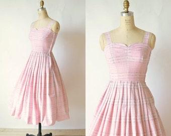 30% OFF Plaid 50s Dress --- Vintage Pink Summer Dress