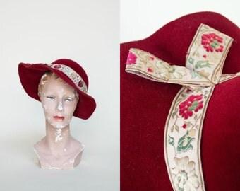 Vintage Red Hat --- 1960s Wide Brim Hat