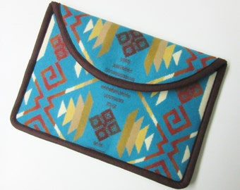 "11"" MacBook Air Cover Sleeve Case Padded Turquoise Blanket Wool from Pendleton Oregon"