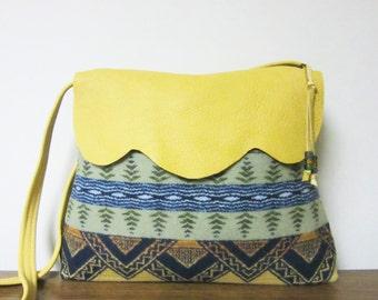 Wool Purse Shoulder Cross Body Bag Yellow Deer Leather Trim Blanket Wool from Pendleton Oregon