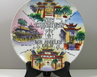 1950's New Chinatown Los Angeles California Souvenir Travel Plate Wall Decor