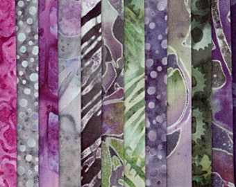 "Hoffman URBANA BALI POPS Precut 2.5"" Fabric Quilting Strips Handpainted Batiks bp-612"