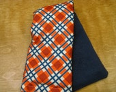 Therapy Rice Bag, Microwave Heat Pack, Rice Heating Pack, Therapy Sack, Orange Checks with Blue, Washable Cover,