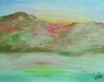 Art - Autumn Mountains - Original art watercolor painting