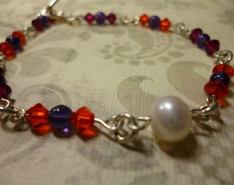 bracelet Pearly Girly, Purples and Ruby