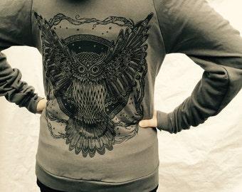 Gray Owl Tree Of Life Hoodie ZipUp Grey   Oak Fleece Made in USA Sm M, XL,