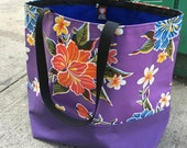 Purple floral Oil Cloth And Canvas Trimmed Beach Bag, Handmade Large Tote
