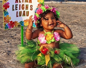 Birthday Luau Outfit - Baby Girl 1st Birthday Outfit - Children's Luau Dress - Luau First Birthday - Flower Crown