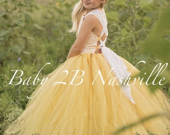 Yellow Flower Girl Dress Shabby Chic Lace Dress Tulle dress Wedding Dress Birthday Dress Toddler Dress Girls Dress
