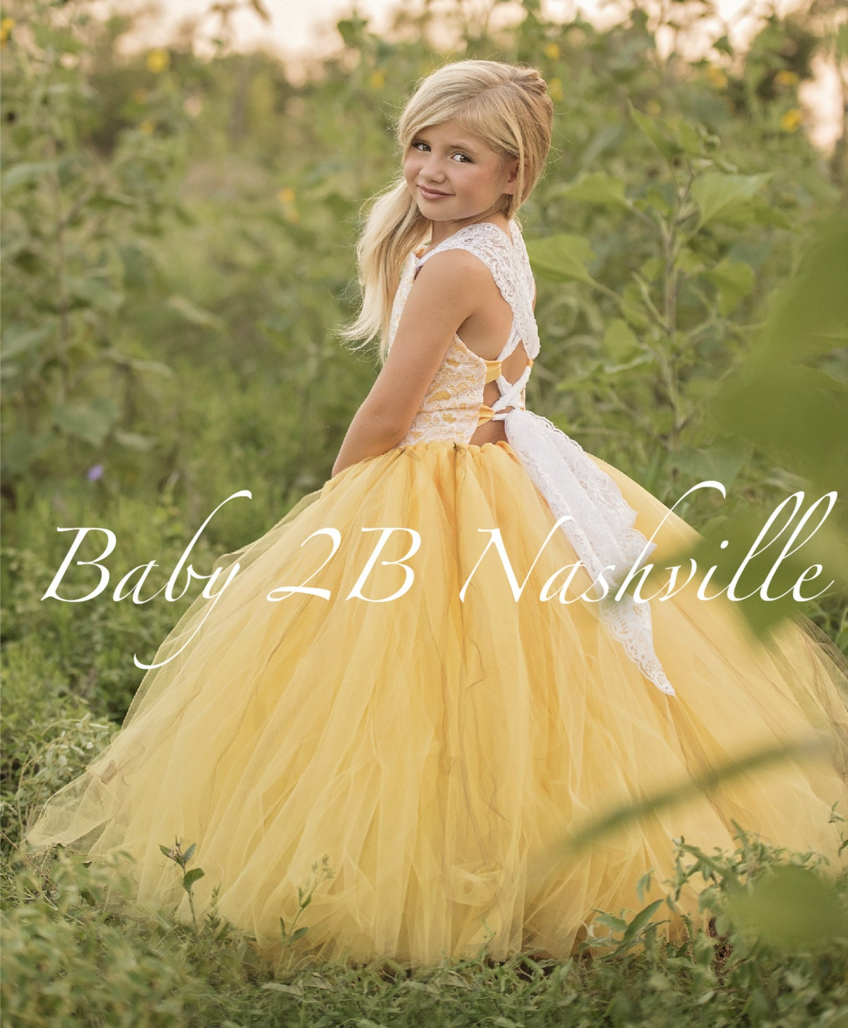 Yellow Flower Girl Dress Shabby Chic Lace Dress Tulle dress