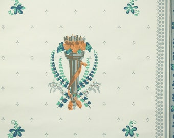 1950s Vintage Wallpaper by the Yard - Orange Green and Teal Traditional Design on Ivory
