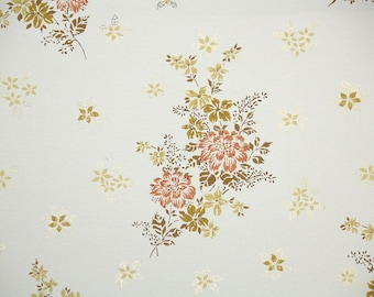 1950s Vintage Wallpaper by the Yard - Floral Wallpaper with Orange Flowers and Metallic Gold Accents on White