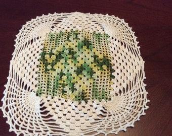 "White Green Crochet 12"" Square Doily D36"