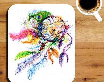 Dreamcatcher with Feathers Watercolor Art Print Mouse Pad