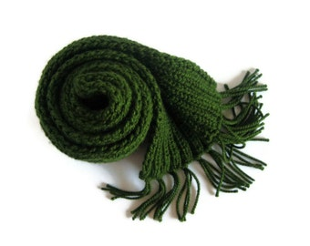 Man Scarf, Dark Green Wool, Winter Scarf, Chunky Knit Scarf, Hand Knitted Scarf, Fringes Scarf, Wool Scarf, Cute Scarf, Long Scarf