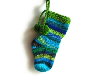 Blue Green Stripes Christmas Stocking Stuffer, Color Wool Pom Pom Socks, Blue and Green, Decoration, Decor Tree Ornaments Hand Knitted Items