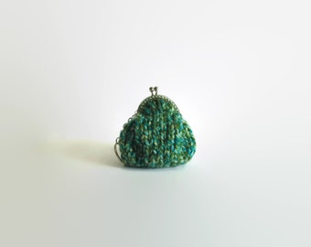 Teal Green Wool Small Coin Purse, Change Money Holder, Key Chain, Women Bag Accessories, Gifts for Her Under 20, Pouch, Hand Knit Coin Purse