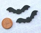 BIG BLACK BATS -  2  Jet Black Laser Cut Acrylic Cabochons