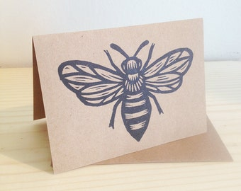 Greeting Card, Bee Card, Honey Bee Blank Greeting Card, Linocut Bee Art Blank Greeting Card, Bee Card, Hand Printed Letter Press Card