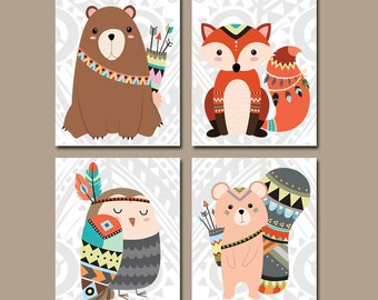 TRIBAL Nursery Wall Art, CANVAS or Prints, Woodland Forest Animals Artwork, Gender Neutral Decor, Bedroom Pictures, Fox Bear Owl Set of 4