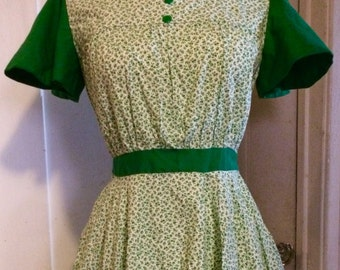 Vintage 60's Floral Cotton Swing Dress, Green & White, Size Small