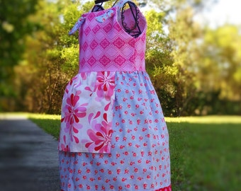 Girls Floral Knot Dress Ready to Ship Girls Size 6  CIJ Christmas in July Sale