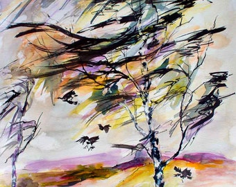 Autumn Wind Birch Tree and Birds Watercolor and Ink Original Painting by Ginette Callaway