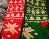 3 hand knit Christmas stockings