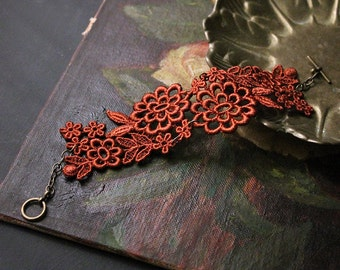 floral cuff / lace bracelet /  ELYSIA / copper bracelet,  wedding jewelry,  victorian cuff,  bridesmaid gift, vintage style, girlfriend gift