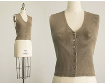 20% OFF SALE 90s Vintage Ecru Merino Wool Ribbed Knit Sweater Vest / Extra Small / Small