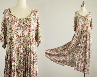 90s Vintage Cream Floral Print Indie Boho Button Down Jumper Tunic Maxi Dress / Size Small