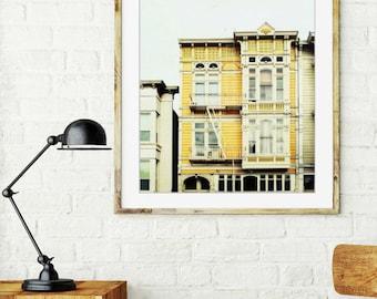 "San Francisco wall art - mustard yellow - urban victorian - architecture print - goldenrod - house windows - 16x20 8x10 ""Saffron House"""
