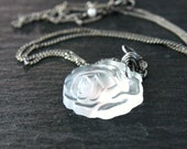 Vintage  Flower   Necklace   Oxidized   Sterling Silver    Clear Glass Necklace  Retro Frosted  Rose Pendant Flower Pendant