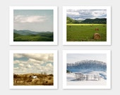 SALE, Nature Photography, Blue Ridge, Set of 4 Photos, Farm House Decor, Wall Art, Spring, Summer, Fall, Winter - Seasons of the Mountains