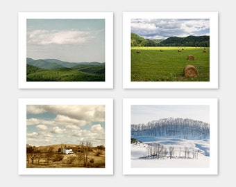 SALE, Nature Photography, Blue Ridge, Set of 4 Photos, Farm House Decor, Wall Art, Spring, Summer, Fall, Winter - Seasons of the Mountains