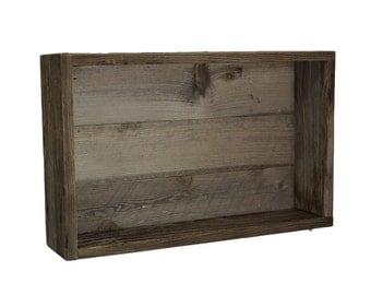 Beautiful rustic shadow box wall shelf from reclaimed wood
