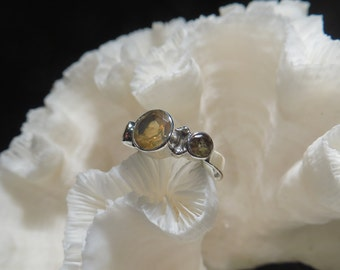 Beautiful Small Faceted Golden Citrine Ring Size 5.5