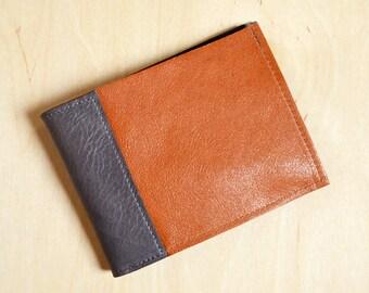 Mens Thin Wallet, Slim Leather Wallet, Minimal Wallet, Men's Wallet, Bifold Wallet, Boyfriend Gift - The Frankie Wallet in Cognac Brown