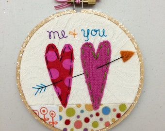 "Me + You Handmade Patchwork Heart Art in a 5"" Embroidery Hoop by Val's Art Studio"