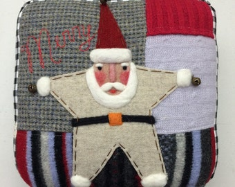 Needle Felted Rustic Folk Art Santa Claus Pillow made from Recycled Sweater Fabric by Val's Art Studio