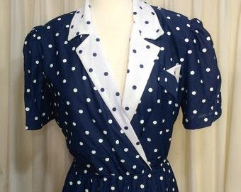 Adorable VINTAGE polka dot 1980s secretary dress