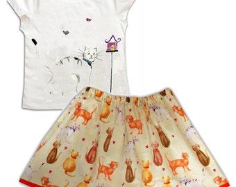 Girls White Cat Tee Shirt and Skirt /  Children's Top / Kids Tshirt / Baby Clothes