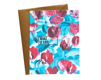 MAKE IT EPIC Blue and Red Floral Greeting Card/ Handpainted / Gold - Single Card