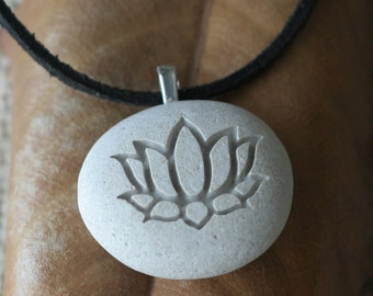 Yoga jewelry - lotus pendant necklace - gift for yoga lover