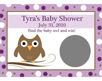 24 Baby Shower Scratch Off Game Cards  - Purple Baby Owl -  Owl Scratch Off Game Cards