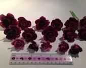 16 Vintage Broken China Mosaic Supply Burgundy Roses
